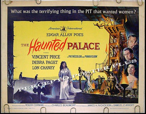 HAUNTED PALACE ~ '63 POE Half-Sheet Movie Poster ~ VINCENT PRICE / LON CHANEY / ROGER CORMAN