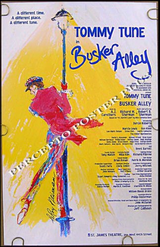 BUSKER ALLEY / TOMMY TUNE ~ '95 Broadway FLOP Musical Theatre Poster ~ LeROY NEIMAN Art