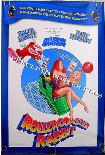 ROLLERCOASTER RABBIT ~ '90 Rare Movie Featurette Cartoon Poster ~ ROGER RABBIT / BABY HERMAN