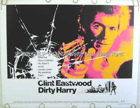 DIRTY HARRY ~ Ex-Cond ORIGINAL '71 Half-Sheet Movie Poster ~ CLINT EASTWOOD / DON SIEGEL