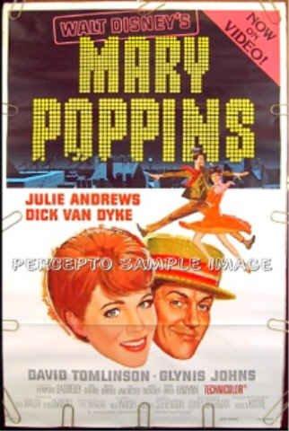 MARY POPPINS - '80s WALT DISNEY 1-Sheet Movie Poster - JULIE ANDREWS / DICK VAN DYKE / GLYNIS JOHNS