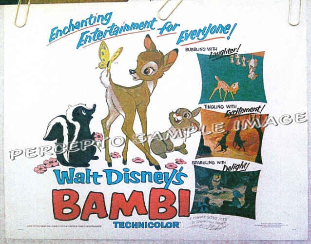 BAMBI  ~ R75 Original Half-Sheet Movie Poster ~ WALT DISNEY ANIMATION ART / THUMPER / FLOWER