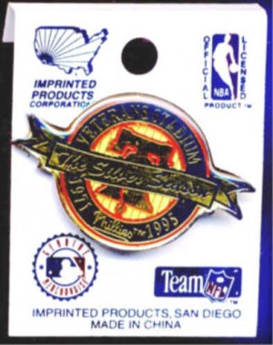 VETERANS STADIUM / PHILADELPHIA PHILLIES ~ Original Cloisonne SILVER SEASON 1995 BASEBALL PINBACK
