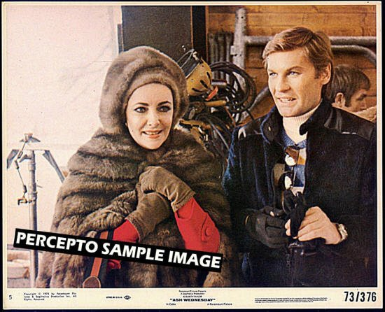 ASH WEDNESDAY ~ Orig '73 Color Movie Photo ~ ELIZABETH TAYLOR / HELMET BERGER