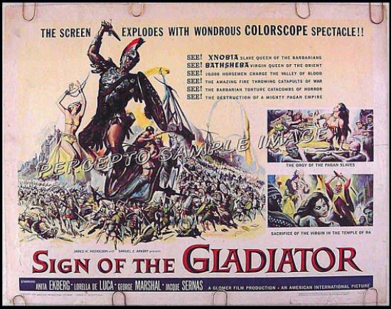 SIGN OF THE GLADIATOR ~ '59 Half-Sheet Movie Poster ~ ANITA ECKBERG / REYNOLD BROWN Art