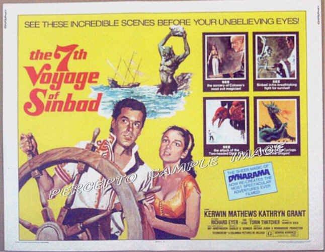SEVENTH VOYAGE OF SINBAD ~ 1958 Orig R75 Half-Sheet Movie Poster ~ RAY HARRYHAUSEN / KERWIN MATTHEWS