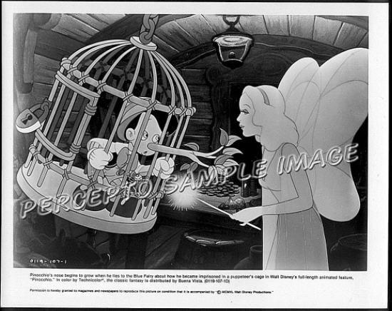 PINOCCHIO and THE BLUE FAIRY ~ 1940 Original R84 WALT DISNEY CARTOON Movie Photo ~ Growing Nose