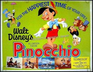 PINOCCHIO - 1940 Ex-Cond R71 DISNEY Animation Half-Sheet Movie Poster ~ CARTOON ART