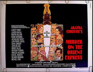 MURDER On The ORIENT EXPRESS ~ '74 AMSEL ART Half-Sheet Movie Poster ~ ALBERT FINNEY / SEAN CONNERY
