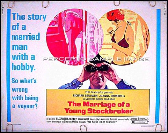 The MARRIAGE OF A YOUNG STOCKBROKER ~ Sexy '71 Half-Sheet Movie Poster ~ RICHARD BENJAMIN / VOYEUR