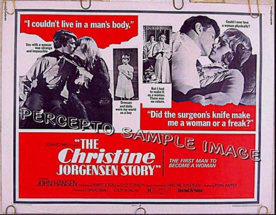 CHRISTINE JORGENSEN STORY ~ 1970 Half-Sheet SEX CHANGE Movie Poster ~ GAY INTEREST / JOHN HANSEN
