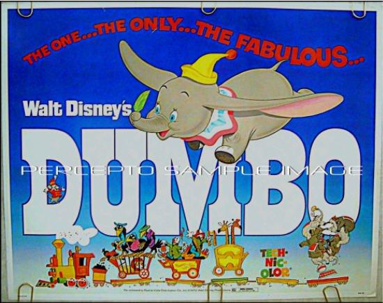 DUMBO - Orig '76 Half-Sheet Movie Poster - Classic WALT DISNEY ANIMATION ART