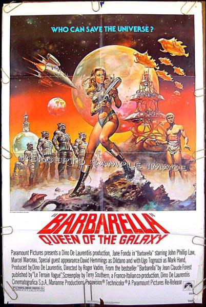 BARBARELLA  ~ '77 1-Sheet Sci-Fi Movie Poster ~ JANE FONDA / DAVID HEMMINGS / BORIS VALLEJO Art