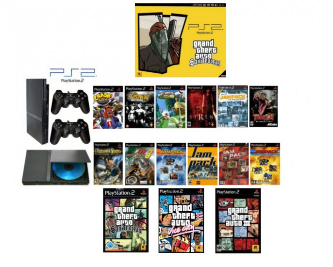 """New Slim Sony Playstation 2 """"Ultimate Grand Theft Auto Bundle"""" - 16 Games + 2 Dual Shock Controllers"""