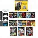 "New Slim Sony Playstation 2 ""Ultimate Grand Theft Auto Bundle"" - 16 Games + 2 Dual Shock Controllers"