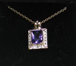 Amethyst & Diamond Slider Pendant