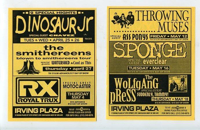 Dinosaur Jr Chavez Smithereens Royal Trux Sponge Everclear 1995 NYC Concert Flyer Handbill