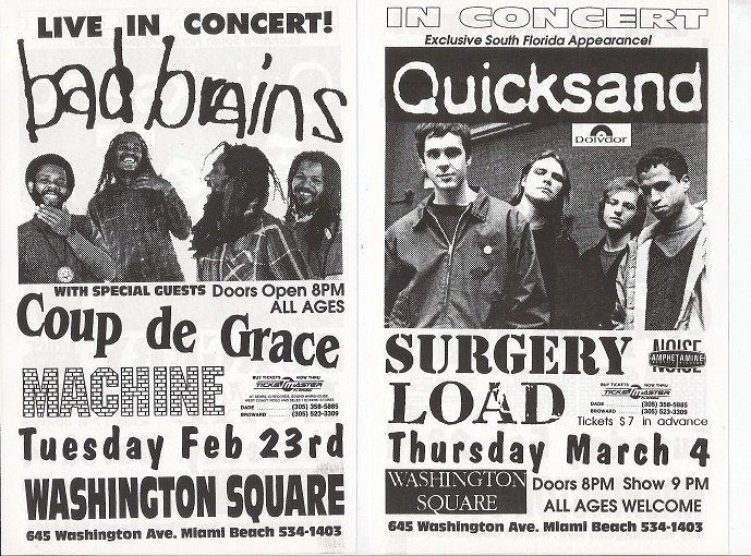 Bad Brains 1993 Miami Beach Punk Concert Flyer Handbill