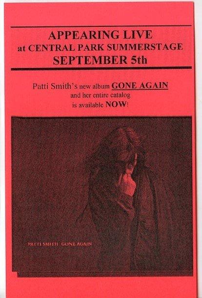 Patti Smith 1996 Central Park Summerstage NYC Concert Handbill