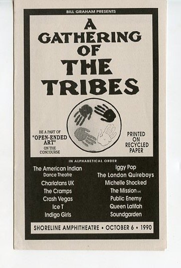 A Gathering of the Tribes 1990 Iggy Pop Soundgarden Cramps Public Enemy BGP Concert Handbill