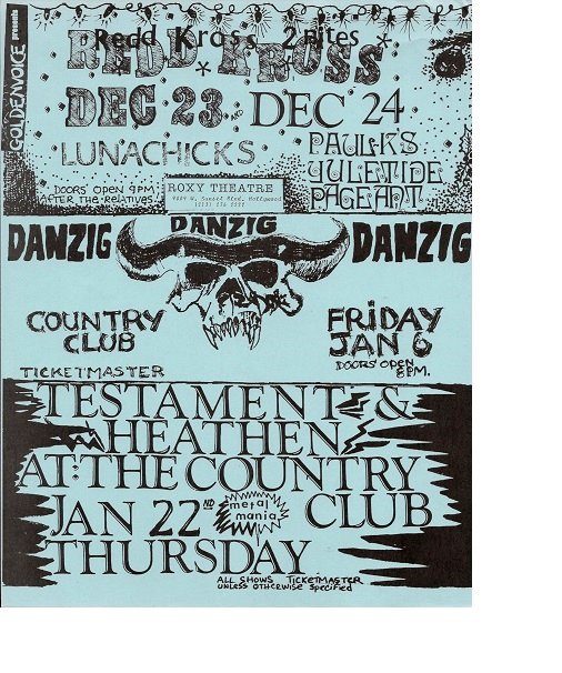 Redd Kross Danzig 1989 Goldenvoice Concert Handbill Poster