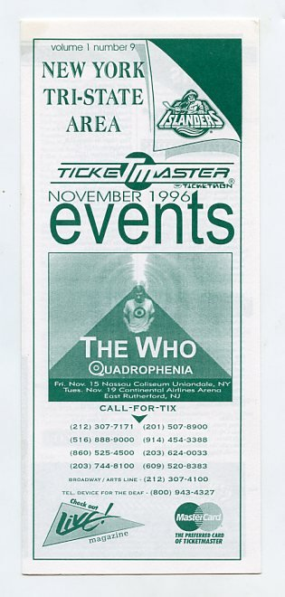 The Who 1996 Quadrophenia NY/NJ Event Concert Calendar Handbill