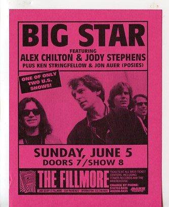 BIG STAR Alex Chilton 1988 The Fillmore SF Concert Handbill Flyer FREE SHIPPING!