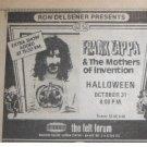 Frank Zappa 1974 Felt Forum NYC Newspaper Concert AD