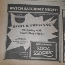 Rolling Stones Kool & The Gand 1974 Don Kirshner's TV Rock Concert Newspaper AD