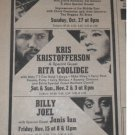 Billy Joel Randy Newman Janis Ian 1974 Original NYC Newspaper Concert AD