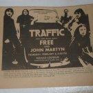 Traffic Free John Martyn 1973 Nassau Coliseum Newspaper Concert AD