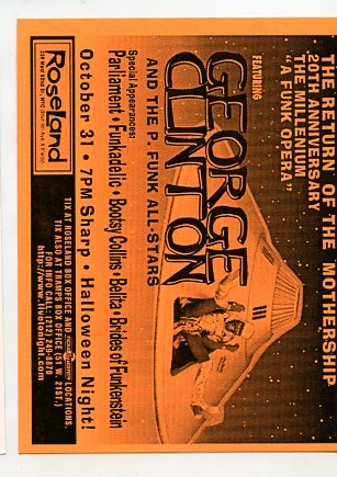 George Clinton P-Funk All Stars 1996 Roseland NYC Concert handbill
