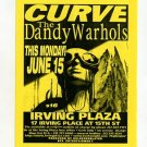 CURVE Dandy Warhols 1998 NYC Concert Handbill