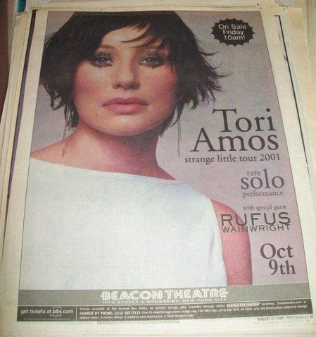 Tori Amos 2001 Beacon Theatre NYC Newspaper Concert AD FREE SHIPPING!