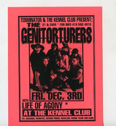 The Genitorturers Life of Agony 1993 Kennel Club SF Concert Handbill
