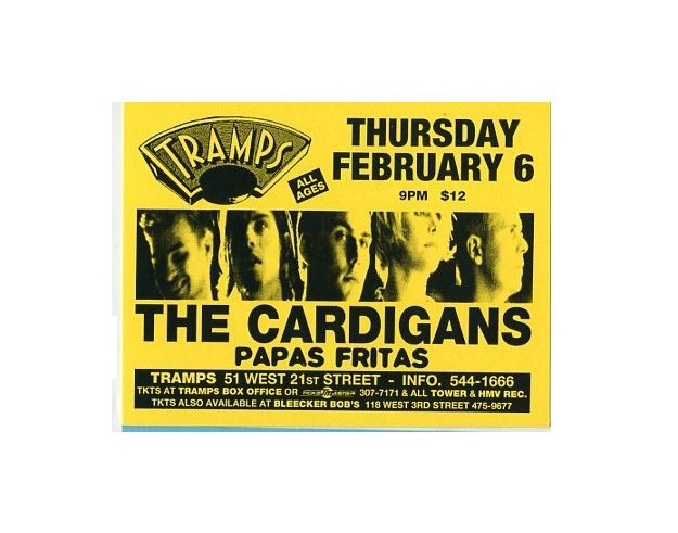 The Cardigans 1997 Tramps NYC Concert Handbill