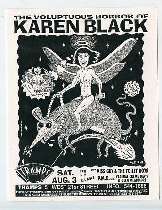 Karen Black 1996 Tramps NYC Concert Handbill
