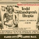 TODD RUNDREN UTOPIA 1974 Radio City Music Hall NYC Concert AD
