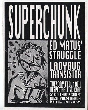 SUPERCHUNK 1998 West Palm Beach Concert Handbill