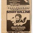 Return To Forever Herbie Hancock Sonny Rollins Todd Rundgren 1974 Newspaper Concert AD