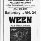 WEEN 1998 Button South FL Concert Handbill