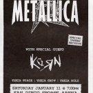 Metallica Korn 1997 San Diego Concert handbill & Soundgarden 1996