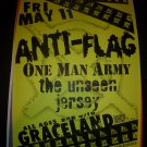 Anti-Flag One Man Army Unseen Seattle Concert Poster 11x17