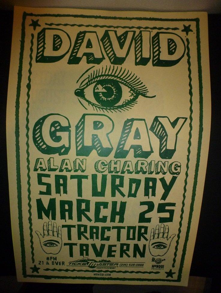 David Gray 2000 Seattle Concert Poster 11x17