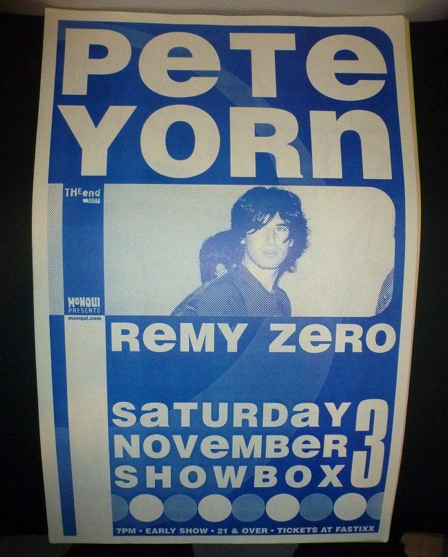 Pete Yorn 2000 Seattle Concert Poster 11x17