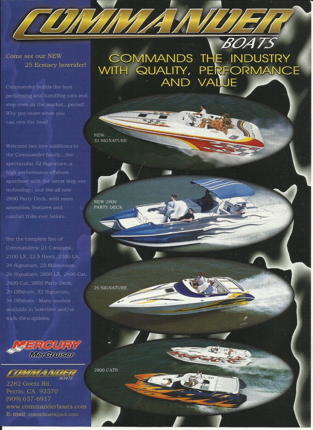 2004 Commander Boats Color Ad- The 32'- 2800- 26' & 2800