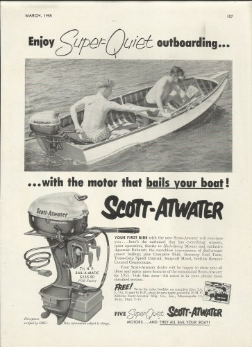 1955 Scott- Atwater Motors Ad- The 7.5 HP. Outboard Motor