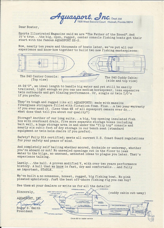 1973 Aquasport Boats Ad- The 240 Center Console & Cuddy Cabin