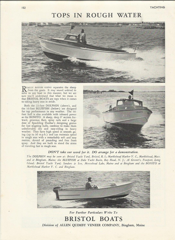 1952 Bristol Boats Ad- The Dolphin Bluefish & Bonito