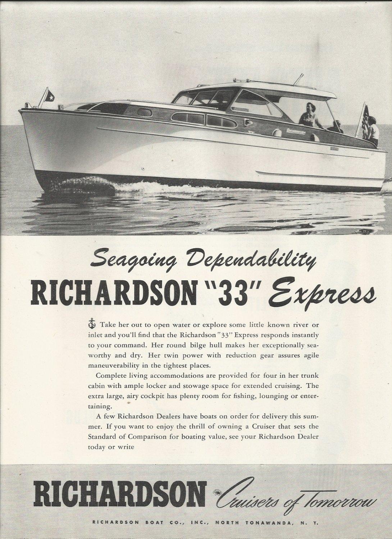 1952 Richardson Boat Company Ad- The 33' Express